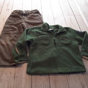 Pullover half zip sweater & brown jeans size 3t